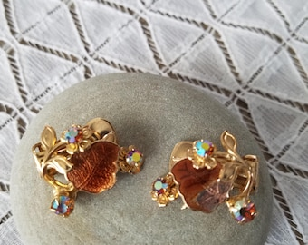 Brown Rhinestone Flower & Leaf Gold Tone Clip Vintage Earrings Costume Jewelry With Aurora Borealis Finish