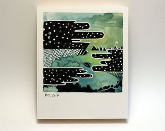 Polaroid #11 - tiny art - geometric art - ready to hang - fine art series - landscape - comic book art - space art - science art - gift