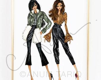 "Fashion Illustration Print, Marissa Webb Fall 2017, 11x14"""