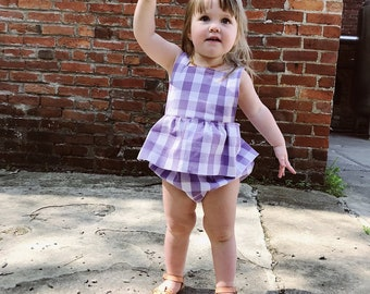 Gemma Summer Ruffle Romper for Girls - Purple & White Gingham Check