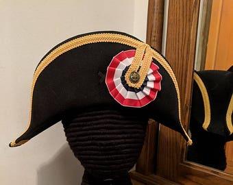 Napoleon Bicorne with Gold Trim - American Cocked Hat - Red White Blue Cockade