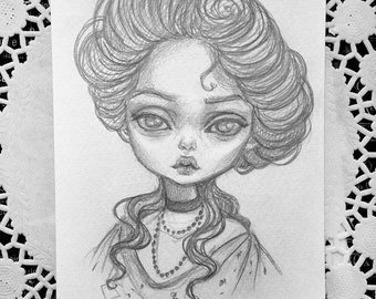 Original art in the format of a postcard. Gibson Girl