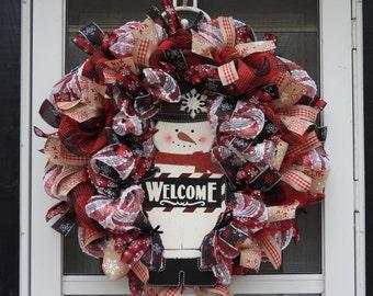 SnowMan Welcome Deco Mesh Wreath