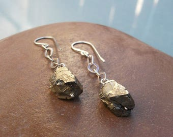 Sterling Silver-Raw-Pyrite-Dangle-Chain-Earrings / Free US Shipping