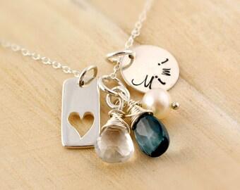 Mimi Necklace - Personalized Mothers Necklace - Family Necklace - Semi Precious Birthstones - Nana Mimi Gigi Oma Mom - Mothers Day Gift