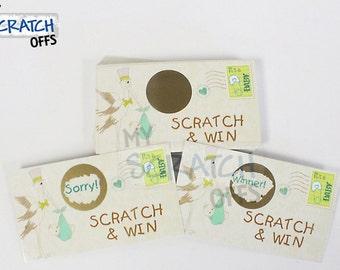 Baby Shower Scratch Off Game Card Vintage Stork Scratch & Win Baby Shower Game - Party Favor Scratch-Off