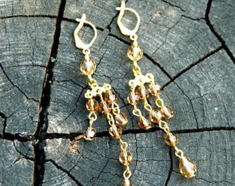 Statement jewelry Birthday gift for wife gift Long earrings Ethnic jewelry gift for women Dangle earrings Fringe earrings gold earrings Gift
