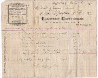 Paper Ephemera / Undertaker Bill / 14x18 / Antique Paper / Digital Instant Download / Funeral Paper / Victorian Paper  / Collage Ephemera
