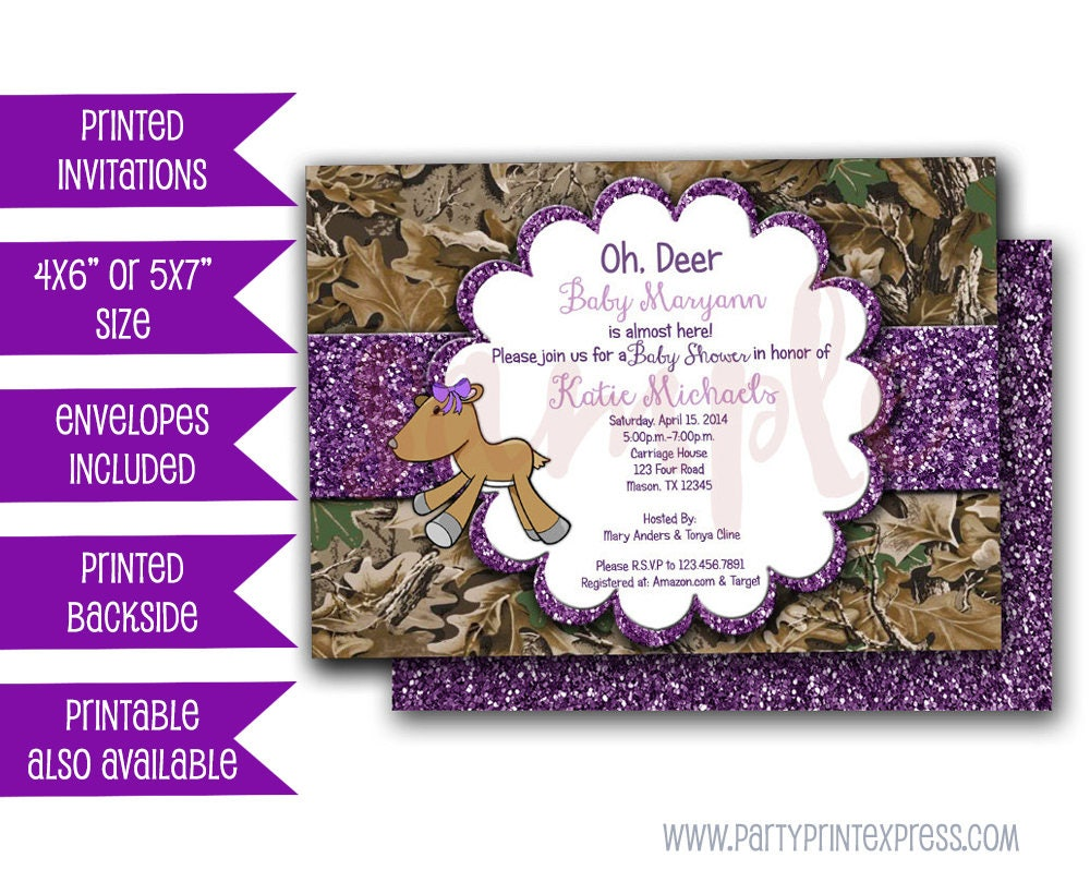 Purple Camo Oh Deer Baby Shower Invitations Camouflage Baby