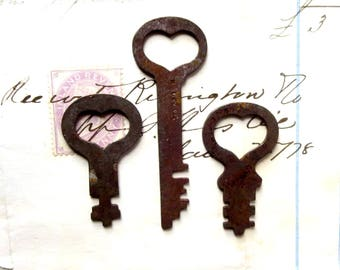 3 Vintage skeleton key Vintage heart keys Little heart keys Love is the Key to My Heart Wedding keys Bride Groom Gift Old heart keys #23