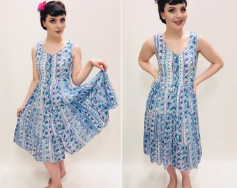 Vintage Dress, Size 8/10, Blue Dress, 1980s Dress,