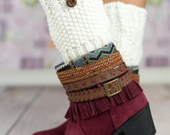 White Knit Buttoned Boot Cuffs
