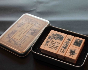 Alice in Wonderland 02 Rubber Stamp Set in Metal Tin with lid