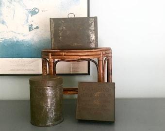 Three Antique Tins, Vintage Metal Containers, tea, u-all-no-mint tin