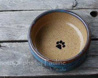 5.5 Inch Blue Ceramic Pet Dish Hand-thrown Pottery Pet Bowl