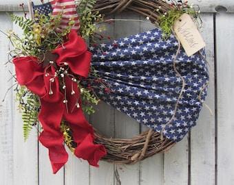 Patriotic Wreath - 4th of July Wreath - Summer Wreath - American Wreath - Star Wreath - Country Wreath - Rustic Patriotic Wreath - Primitive