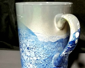 Blue Ceramic Mug 12 Oz/Blue Ceramic Latte Mug/Blue Coffee Mug/Blue Ceramic Mug/Blue Latte Mug 12 oz/Blue White Ceramic Mug/Blue Latte Mug