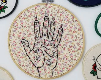 floral palmistry hand embroidery