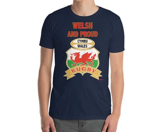 Welsh and Proud inspirational rugby football t shirt comes in a custom turquoise shirt tote bag with a enamel pin with dragon patch and pins