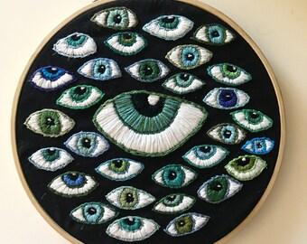Handmade Embroidery, Eyeball, Third Eye, Embroidery Hoop, Wall Hanging
