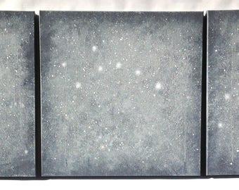 "Constellation Triptych: Ursa Major, Ursa Minor & Polaris 20""x60"""