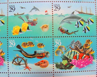 Little Nemo 24 UNused Vintage US Postage Stamps 29cent Full Sheet Wonders of the Sea Scubadiving Honeymoon Tropical Save the Date Wedding