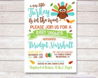 TURKEY BABY SHOWER Invitation. Digital. Printable.