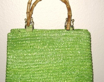 Vintage St Johns Bay Green Purse with Bamboo Handles