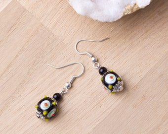 Quirky Black earrings | Black spotty lampwork cube beads | Square black dangle earrings | Dotty jewellery | Dot jewelry | Spot earrings