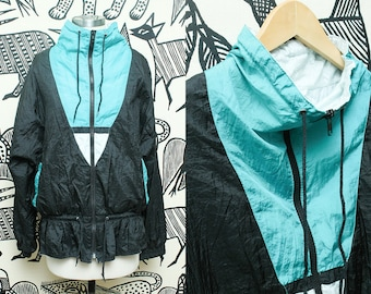 Green Black Windbreaker Jacket // 90s Sporty Lightweight Zippered Jacket // Unisex Hipster Size Large