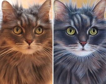 Custom Pet Portrait - Cat and Dog Paintings - By Toronto Portrait Artist Malinda Prud'homme