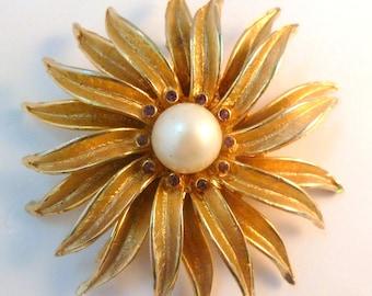 Vintage Flower Brooch, Large Layered,  Faux Pearl Flower,  Sunburst Brooch.