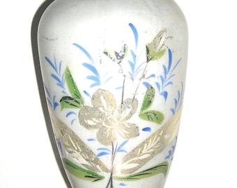 18'' large 19 th c antique Mercury glass vase handpainted