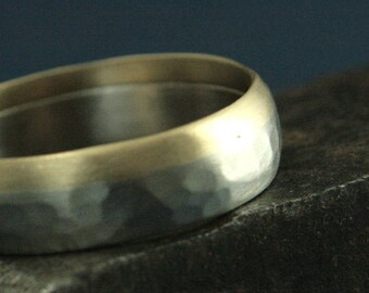 Gold Two Tone Band--Hammered Wedding Band--Hammered Wedding Ring--Revolution Ring--Unique Men's Ring--Men's Wedding Ring--Men's Gold Band