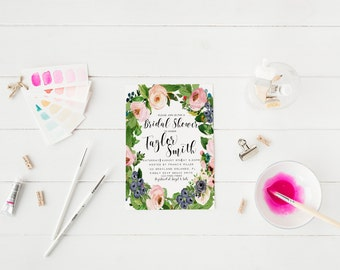 Spring Floral Blush Flowers Pink Bridal Shower Invitation Hens Party Invitation Bachelorette Party Invitation Spring Green Wreath Flowers