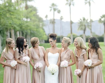 Bridesmaids dress in  pink beige infinity dress - floor length  matching tube top  +55 colors