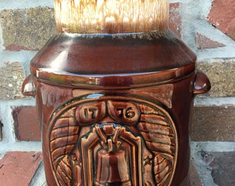 Vintage McCoy Pottery Cookie Jar BiCentennial Brown Dripware 1776-1976