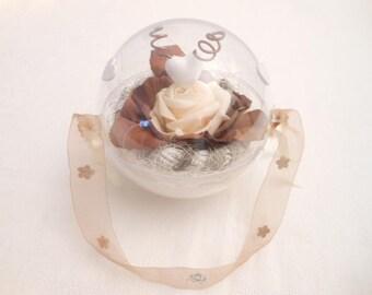 Wedding ring holder ring bearer wedding chocolate brown and ecru ball holder
