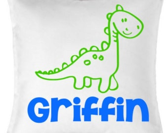 18 inch White Cotton Pillow Cover - Dinosaur and Name - Personalized