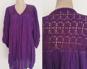 1970's Gauzy Purple Tunic/ Mini Dress Size Small Medium Large XL by Maeberry Vintage