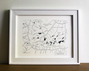 The Enchantments, Washington Central Cascades Mountains Letterpress Mini Map