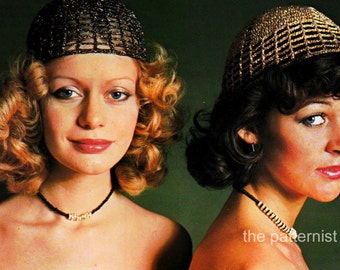 Vintage Crochet Pattern for 70s Glitter Cap Boho Hat Retro PDF Instant Download 11-7