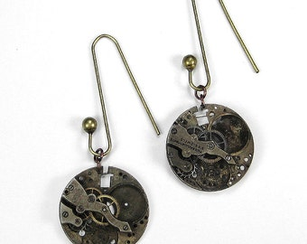 Steampunk Earrings Jewelry Nihilist Post Apocalyptic Round Watch GRUNGED DiSTRESSED Gears Rocker Biker Punk Earrings - Jewelry by edmdesigns