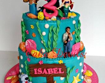Snorkel themed fondant Cake Topper Kit Swimmer Cake