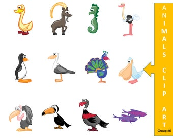 Animal Clip Art - Digital Scrapbook - Cartoon Clip Art - Duck Clip Art - Goat Clip Art - Clip Art Graphics - Scrapbook Digital Download