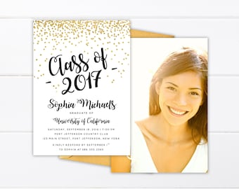 Printed or Printable College Graduation Invitation, High School Graduation Announcement, Class of 2018 Printed Senior Announcement Cards