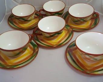 Vernon Kilns Homespun 6 Cups & 5 Saucers