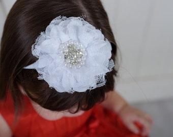 White baby headband - bling flower headband - lace headband - infant headband - pink headband - headband - girls headband - baby hair band
