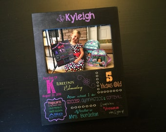 Kindergarten Sign First Day of School Chalkboard Style Frame Back to School Gift Favorite Things Personalized Wood 4x6 Photo Frame Keepsake