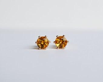 Citrine Stud Earrings, 14KT Gold Filled, Birthstone Earrings, Bridesmaid Gift